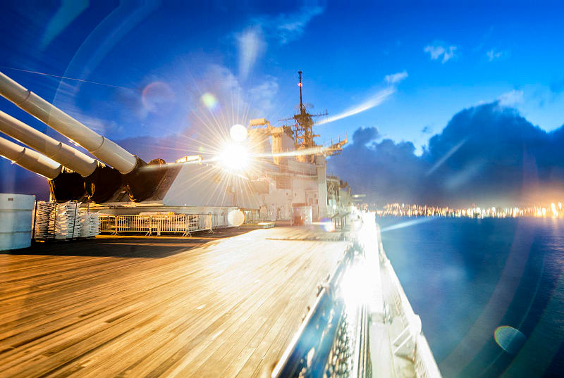 Shot of sunrise aboard the USS Battleship Missouri