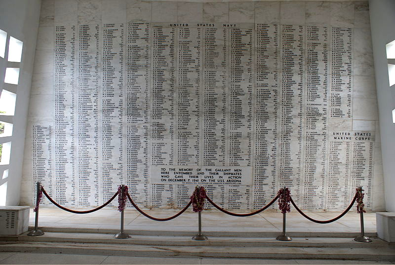 Memorial Wall of the USS Arizona Battleship