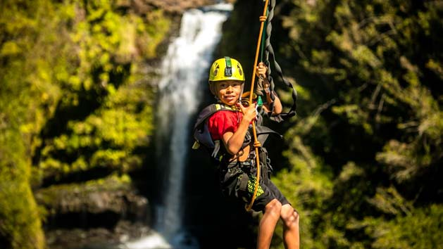 Zipline over a string of Waterfalls