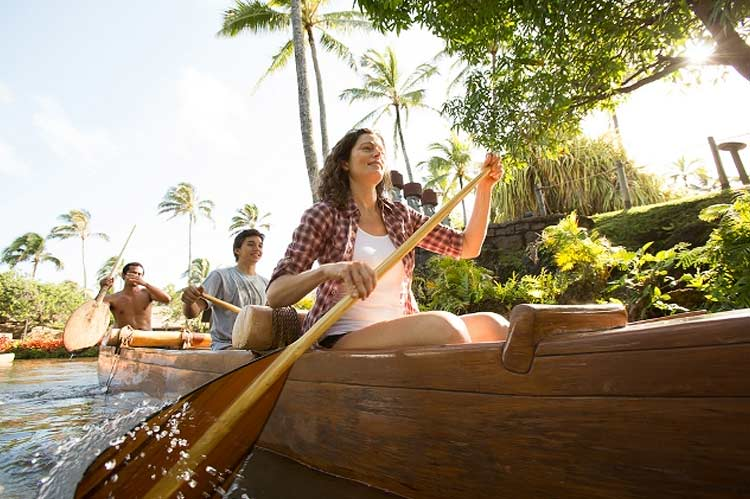 Ride a canoe between the villages