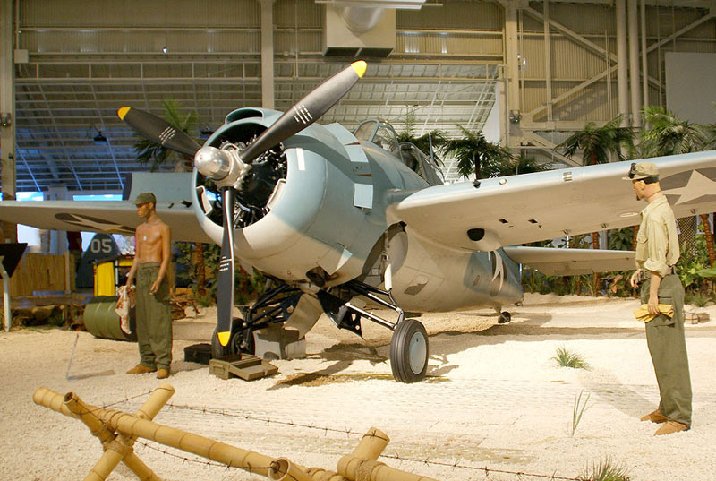 War planes on display at the Pacific Aviation Museum