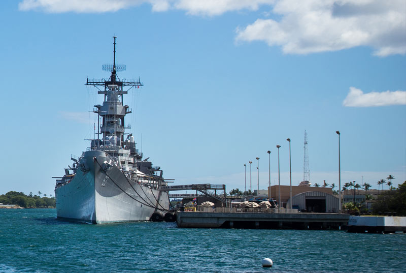 View of the USS Battleship Missouri from the Arizona Memorial