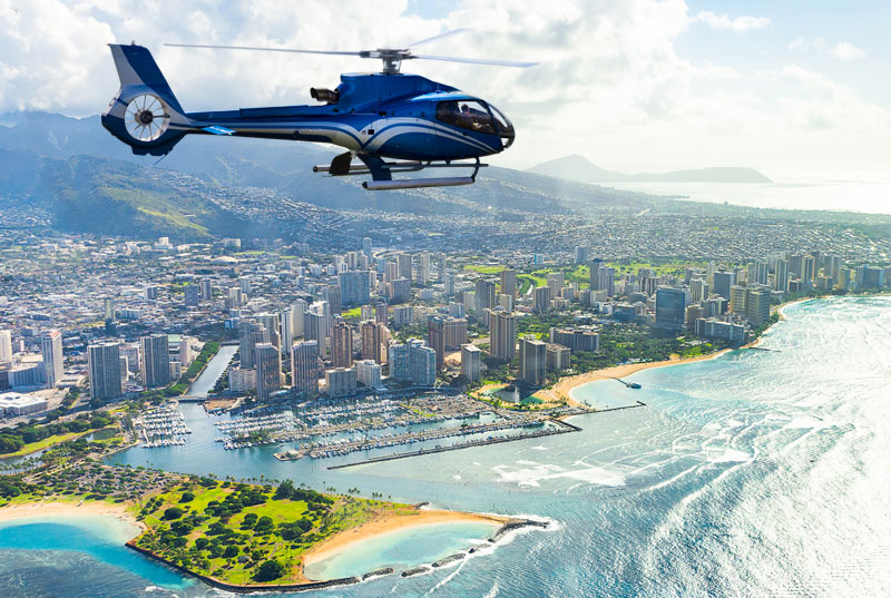 Helicopter tour over Waikiki Oahu