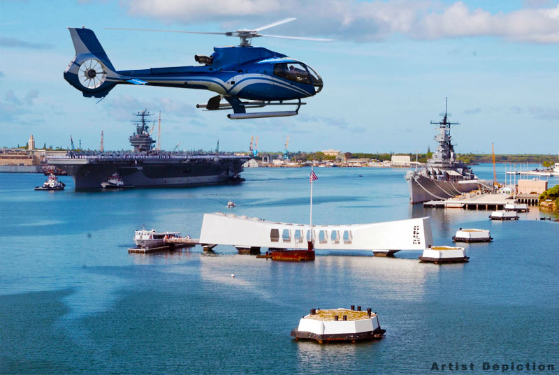Pearl Harbor Helicopter Tour - Artist Depiction