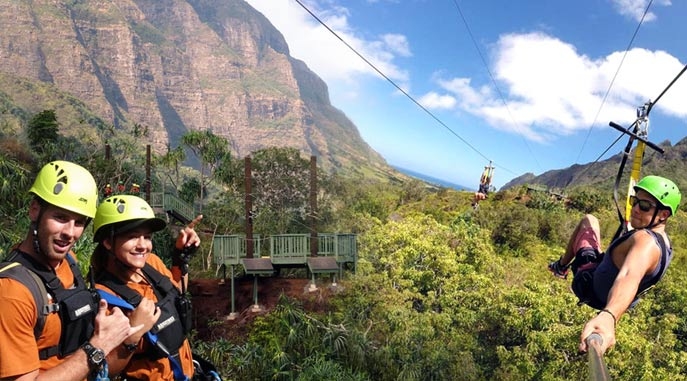 Zipline with friends on the Dual Zipline
