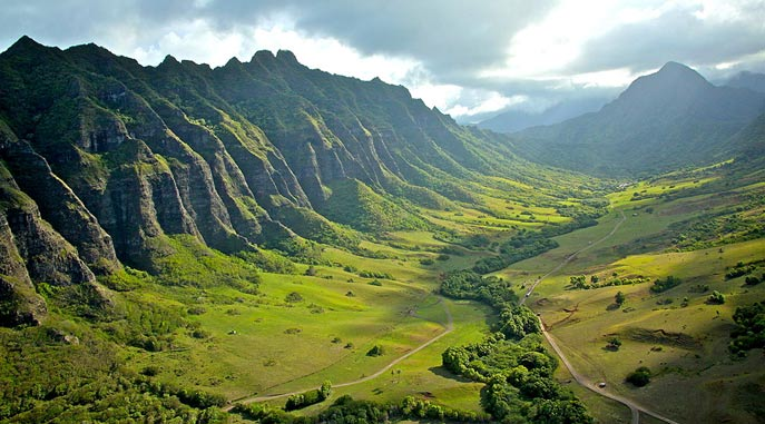 Kualoa Valley on Oahu Island
