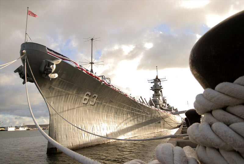 Front/Side view of the Mighty USS Battleship Missouri