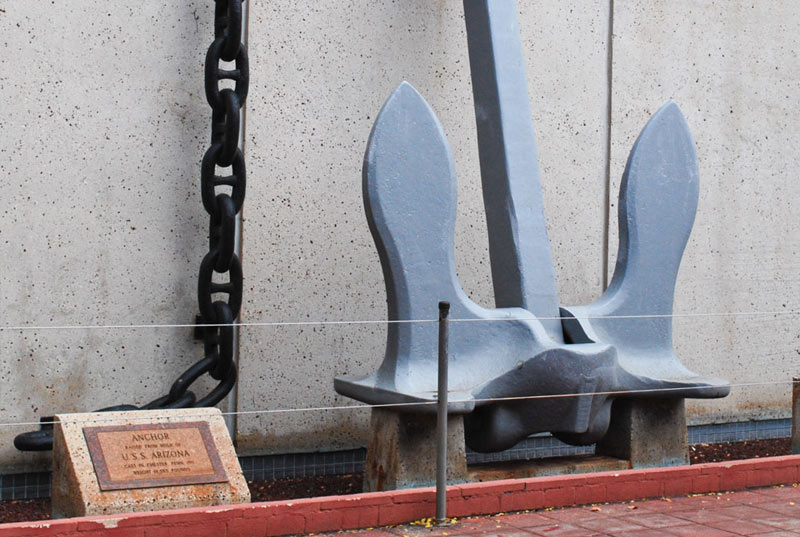See the anchor of the USS Missouri Battleship
