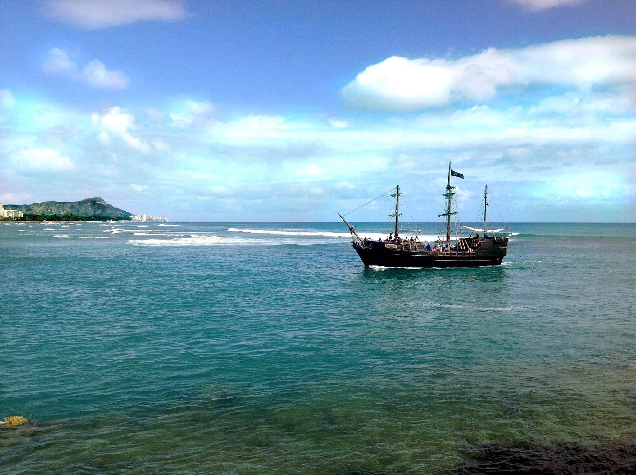Hawaii Pirate Ship with Diamond Head