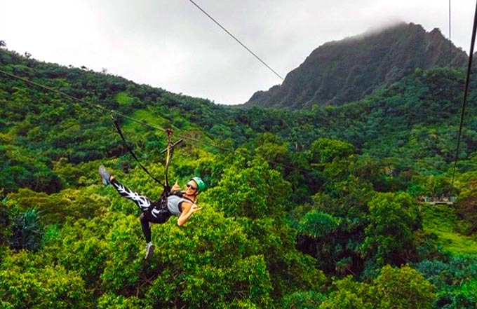 Zipline over tropical forrest